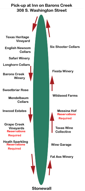 290 Wine Shuttle route map
